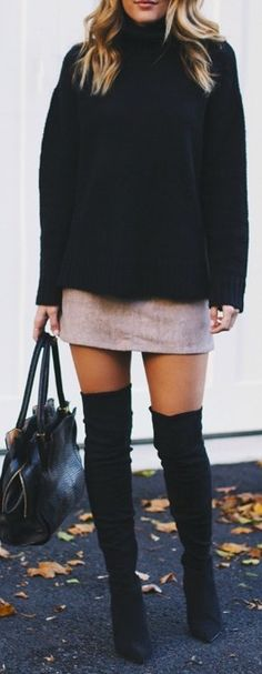 #fall #outfits / black oversized knit + OTK boots