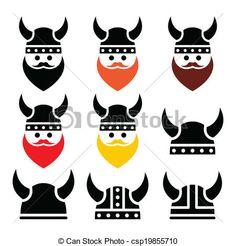 Vector Clip Art of Viking warrior in helmet icons set - Ancient ...