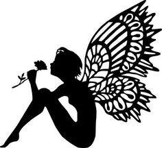 Die Cut Silhouette SITTING FAIRY topper x 6 for cardmaking, scrapbooking, crafts