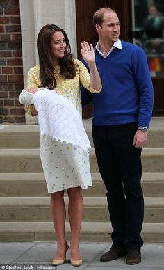 The Duke and Duchess introducing their second child, a daughter, on the steps of the hospital 2nd May 2015