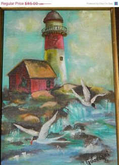 Super Sale Vintage Lighthouse Oil Painting on by TheIDconnection