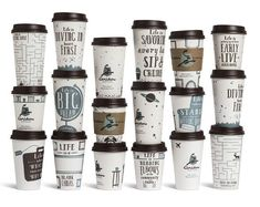 For US coffee company Caribou Coffee, Minneapolis-based ad agency Colle+McVoy designed themed coffee cups and napkins that aim to inspire consumers.