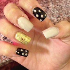 Nude Black Gold Nail Design