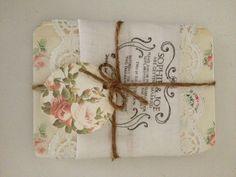 Rustic shabby chic handkerchief wedding invitation for our barn wedding