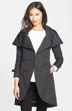 $425, Black Trenchcoat: Mackage Malka Double Breasted Trench Coat. Sold by Nordstrom. Click for more info: https://lookastic.com/women/shop_items/89089/redirect