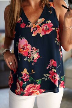 """9 casual work outfits with a floral top """"Charter School Cardigan in Honey"""" by modcloth liked on Poly Summer Work Outfits, Casual Work Outfits, Work Casual, Cool Outfits, Style Casual, My Style, Tank Top Damen, Floral Tops, Bluse Outfit"""