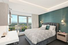 North Sydney Penthouse Bedroom, designed by Jodie Carter Design. Photo by Savills Real Estate, Double Bay