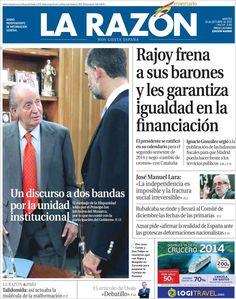 Los Titulares y Portadas de Noticias Destacadas Españolas del 15 de Octubre de 2013 del Diario La Razón ¿Que le pareció esta Portada de este Diario Español?