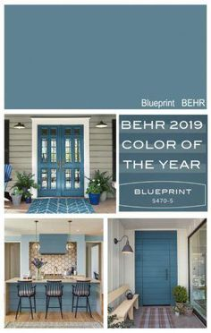 New front door color? Highlight of the 2019 Colors of the Year from the paint manufacturers color forecasts including Sherwin Williams, BEHR, PPG, Ace Hardware and Dutch Boy. Popular Paint Colors, Paint Colors For Home, Paint Colours, Behr Colors, Home Colors, Garage Paint Colors, Outside House Paint Colors, Beach House Colors, Office Paint Colors