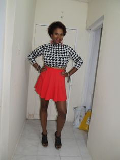 Red Skater Skirt with Houndstooth crop top