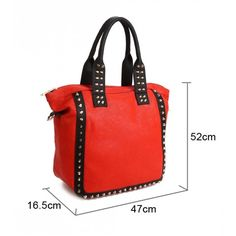 A big bag, with a  line around the bag which has studs on the  line, the colours are well blended with other, making the bag stand out from the other, the handle also has gold studs and the zips are on the bag to ensure no essentials from falling, inside, the bag has different sized pockets. This bag varies in different colours.