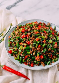 """Garlic Chive Stir Fry with Pork or Cang Ying Tou (苍蝇头) literally translates to """"Flies' Heads"""" in Chinese. Have this garlic chive stir fry over rice! Pork Recipes, Asian Recipes, Cooking Recipes, Healthy Recipes, Ethnic Recipes, Chinese Recipes, Asian Foods, Healthy Food, Gourmet"""