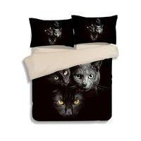 Wish | 3D Black cat Bedding Sets,3D Beding Sets, Full/Queen/King Size(4 Pcs) Beddings, Reactive Printing Beddings, light weight and soft,HD reactive printing bedding sets