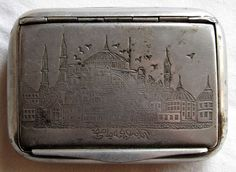 vintage antique metal nickel-plated Turkish cigarette case tobacco mosque 1900's