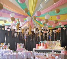 Ceiling from a Dreamy Princess Birthday Party on Kara's Party Ideas Baby Girl Birthday Theme, Princess Birthday Party Decorations, Carousel Birthday, Princess Theme Party, Carnival Birthday Parties, Fairy Birthday, Unicorn Birthday Parties, Birthday Party Themes, 1st Birthday Party Ideas For Girls
