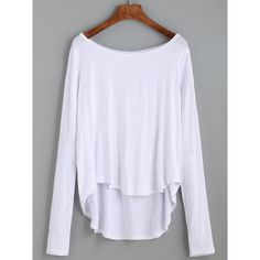 White Drop Shoulder High Low T-shirt (28 BRL) ❤ liked on Polyvore featuring tops, t-shirts, shirts, blusas, long sleeves, white, long sleeve t shirts, long sleeve white t shirt, tee-shirt and white long sleeve tee