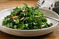 Here's a snappy, fresh side dish or a light supper: a lemony green salad, rich with tang and crunch The dressing is nothing more than lemon juice, olive oil, garlic and salt Its simplicity makes it perfect.