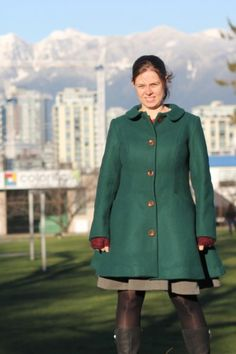 Vogue 9040 Coat in Green Melton Wool Chef Jackets, Lavender, Vogue, Wool, Green, How To Make, Fashion, Moda, La Mode
