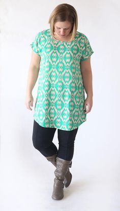 Transition from summer to fall or winter to spring easily with a free sewing pattern that's perfect on its own or layered under a cute cardigan. This Breezy Tunic Tee Pattern is your solution to warm fall days and looks fabulous when paired with your