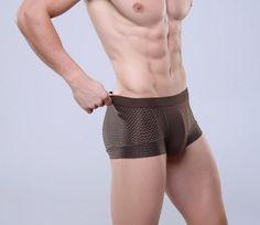 Breathable Mesh Silk Men\'s Boxer Four Corner Underwear Wholesale New Underwear Men Cotton Mens Bodysuit Underwear
