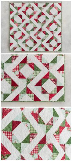 Fresh Diamonds Reindeer Run Quilt Kit by Anorina Morris featuring Lily & Loom Reindeer Run for Craftsy. Brighten up your holidays with this quick and easy half-square triangle quilt! Fresh Diamonds, from Samelia's Mum, relies on precise fabric placement to achieve this bold design. Stitch your half-square triangles, then have fun with your layout to create the diamond effect. Half square triangle quilt pattern. Christmas quilt. Affiliate link.