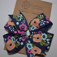 Navy vintage floral pinwheel hair bow on clip by GoodnessGrayson