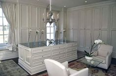 Closet doors conceal contents and keep things tidy Dressing Room Closet, Dressing Room Design, Dressing Rooms, Dressing Area, Princess Closet, South Shore Decorating, Amazing Decor, House Inside, Master Closet