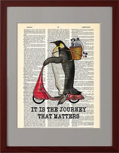 Happy Penguins Funny riding poster Penguin riding by Natalprint