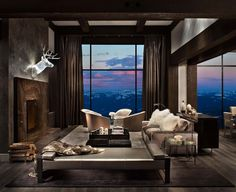 This fabulous contemporary mountain retreat was designed by the talented design team of Locati Architects, nestled in the Spanish Peaks of Big Sky, Montana. Living Room Designs, Living Room Decor, Living Spaces, Style At Home, Home Design, Design Ideas, Rocky Mountains, Future House, Masculine Living Rooms