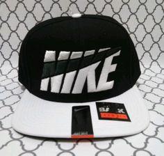 e68b02f2 NIKE JUST DO IT SWOOSH BLACK AND WHITE MEN'S SNAPBACK HAT / CAP NEW #NIKE