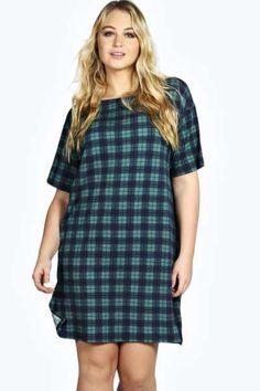 Jessica Check Slouchy T Shirt Dress at boohoo.com