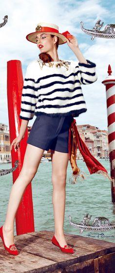Navy skirt, striped sailor shirt, ON red ballet flats Nautical Looks, Nautical Stripes, Nautical Style, Navy Stripes, Nautical Fashion, Blue Fashion, Sailor Shirt, Striped Flats, Vogue Japan