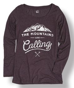 Look what I found on #zulily! Heather Purple 'The Mountains Are Calling' Long-Sleeve Tee #zulilyfinds