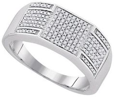Sterling Silver 0.23CTW-DIA MICRO-PAVE MENS RING: Rings
