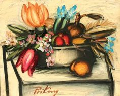 Franz PRIKING 1929-1979 Panier de fleurs et fruits Huile sur toile signée