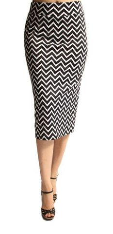 Black and White Chevron Skirt - Cozy Couture