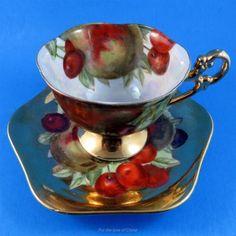Pedestal Fruit on Gold Shafford Tea Cup and Saucer Set