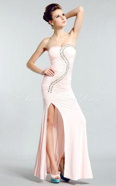 Chiffon Sleeveless Sheath/ Column Dropped Floor Length Sweetheart Prom/ Evening Dresses