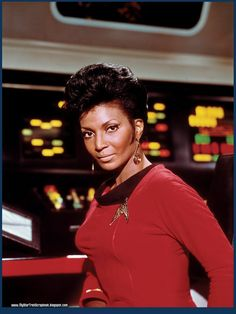 "Nichelle Nichols as Lt. Uhura in ""Star Trek"" http://www.imdb.com/name/nm0629667/"