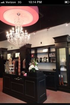 Retail store idea..Interesting. May be too dark. Almost reminds me of a jewelry store. But also very sophisticated but girly