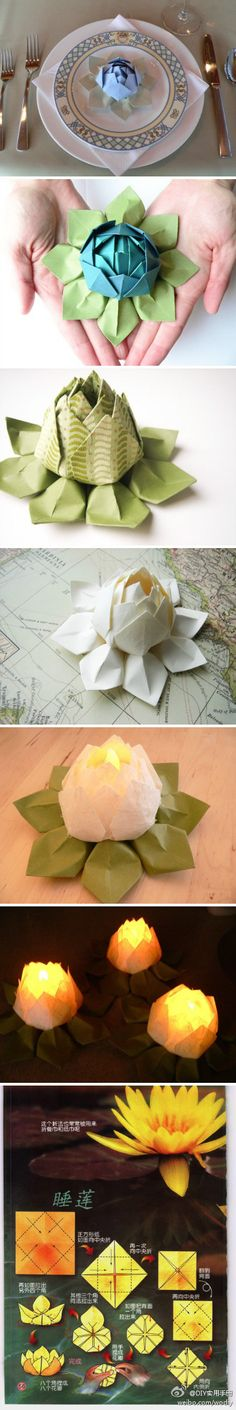 Water lily origami - how awesome are these... thinking these could be cute If I can figure out how to make lots of them.