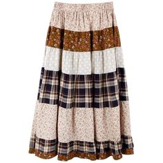 Vintage Color Matching Elasic Waist Long Skirt ($63) found on Polyvore