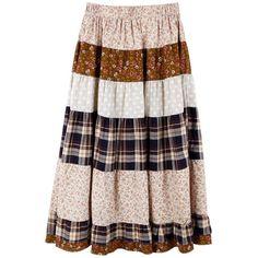 Vintage Color Matching Elasic Waist Long Skirt ($63) found on Polyvore