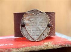 Heart Leather Script Cuff.