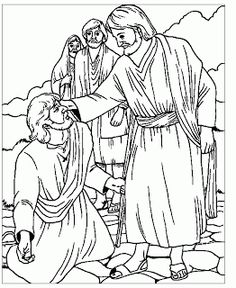 People Seeing The Blind Man And Jesus Christ While Healing Coloring Page
