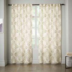 Cotton Canvas Vine Lattice Curtain - Horseradish   west elm $49