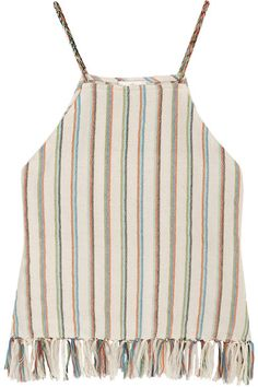 Miguelina   Paloma fringed striped cotton-blend top   NET-A-PORTER.COM