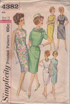 MOMSPatterns Vintage Sewing Patterns - Simplicity 4382 Vintage 60's Sewing Pattern DIG THIS Huge Pockets over Princess Seams Slim Shift Dress Set, Day to Night Mad Men Size 12