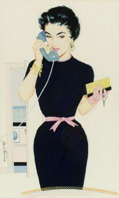 Retro housewife illustration