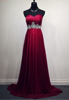 The new red evening dress has a formal